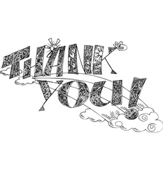 THANK YOU sketchy doodles vector image