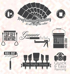 Retro painting service labels and icons vector