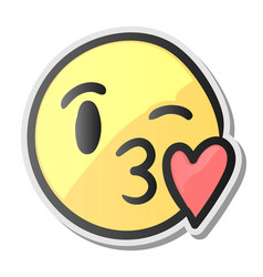 Emoji kissing smiling face emoticon with kiss vector
