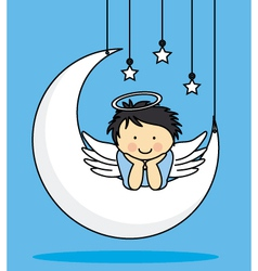 Angel on a moon vector