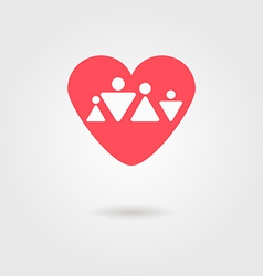 Family heart icon vector