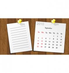 wood sticky calendar 2010 vector image