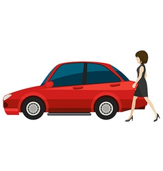 Woman and car vector