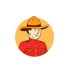 Mounted police officer bust circle cartoon vector
