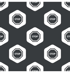 Black hexagon stop sign pattern vector