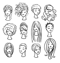 Set of ladys haircuts and styling vector