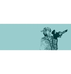 Double exposure of bearded man with chainsaw vector image