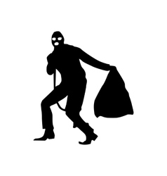 Robber silhouette black vector image