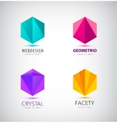 Set of crystal 3d logos icons signs idea vector