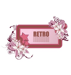 retro frame with floral and stars vector image