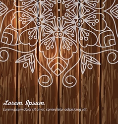 Decorative mandala wooden background vector