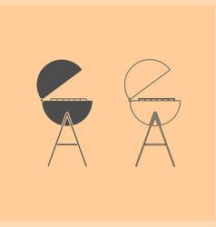barbecue or grill dark grey set icon vector image