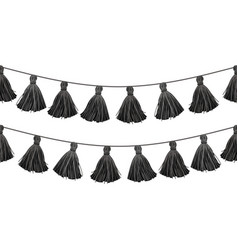 Black double hanging decorative tassels vector