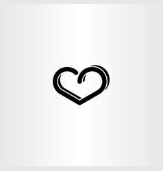Black heart design element sign vector