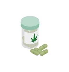 Bottle of pills medical marijuana icon vector