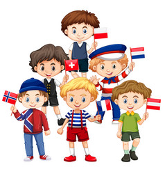 Boys holding flags from different countries vector