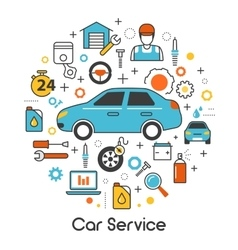 Car Auto Maintenance Service Line Thin Icons Set vector image