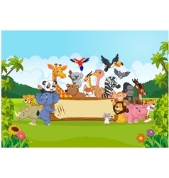 Cartoon wild animals holding banner vector image vector image
