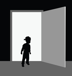 Child front of the door vector