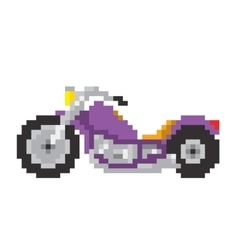 Chopper motorbike in pixel art style isolated vector image vector image