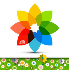 Colorful flower symbol with flowers on garden vector