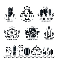 Craft beer brewery emblems barley vector image