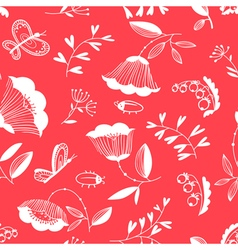 decorative seamless background with flowers bugs a vector image vector image
