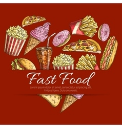 Fast food poster in heart shape vector