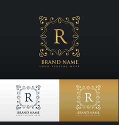 Floral monogram border frame logo for letter r vector