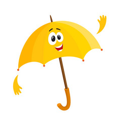 funny open umbrella character with smiling human vector image