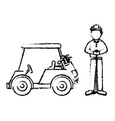 Golf car with driver isolated icon vector