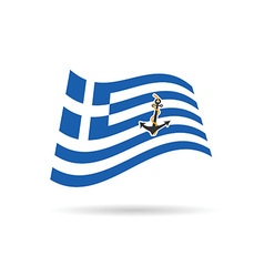 Greek flag with anchor on it vector