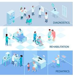 Hospital staff isometric horizontal banners vector