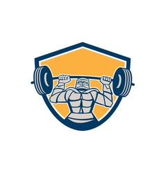 Knight lifting barbell weights shield retro vector
