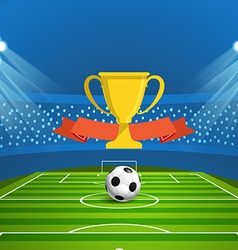 Light stadium mast Stadium with green footb vector image vector image