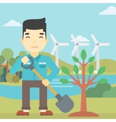 Man plants tree vector