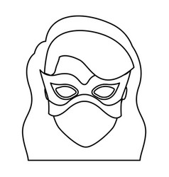 Monochrome contour of faceless girl superhero with vector