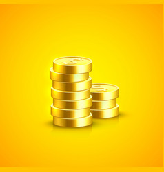 pile of coins on the orange background vector image vector image