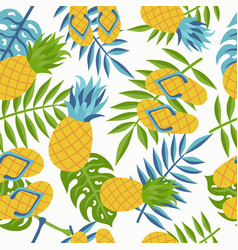 pineapple tropical jungle pattern for summer vector image vector image