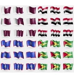 Qatar yemen guam guyana set of 36 flags of the vector