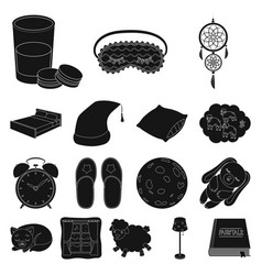 Rest and sleep black icons in set collection for vector