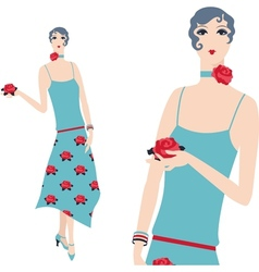 Retro young beautiful girl of 1920s style vector image vector image