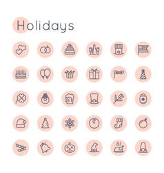 Round Holidays Icons vector image