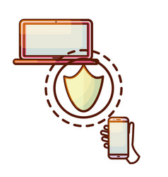secure connection laptop computer and smartphone vector image