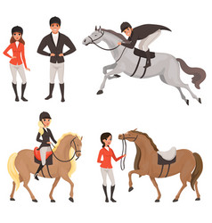 Set of jockeys and horses in different actions vector