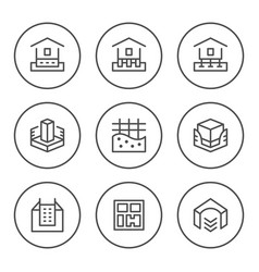 Set round line icons of house foundation vector