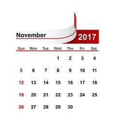Simple calendar 2017 year november month vector
