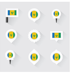 St vincent amp the grenadines flag and pins for vector