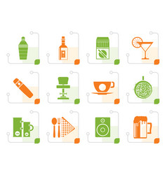 Stylized night club bar and drink icons vector