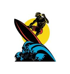 Surfer wave retro vector